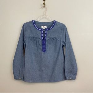 Vineyard Vines Blue Embroidered Chambray Blouse